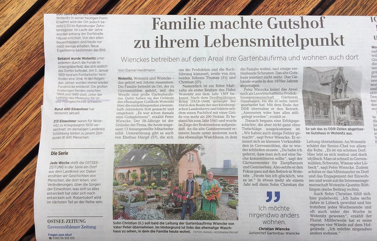 Wotenitz in der Ostsee-Zeitung